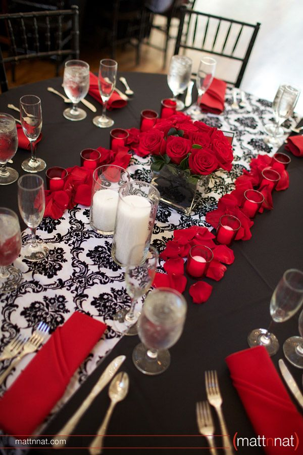Love the colors... but still thinking I might want Purple instead of Red. Damask Wedding Reception Tablescape