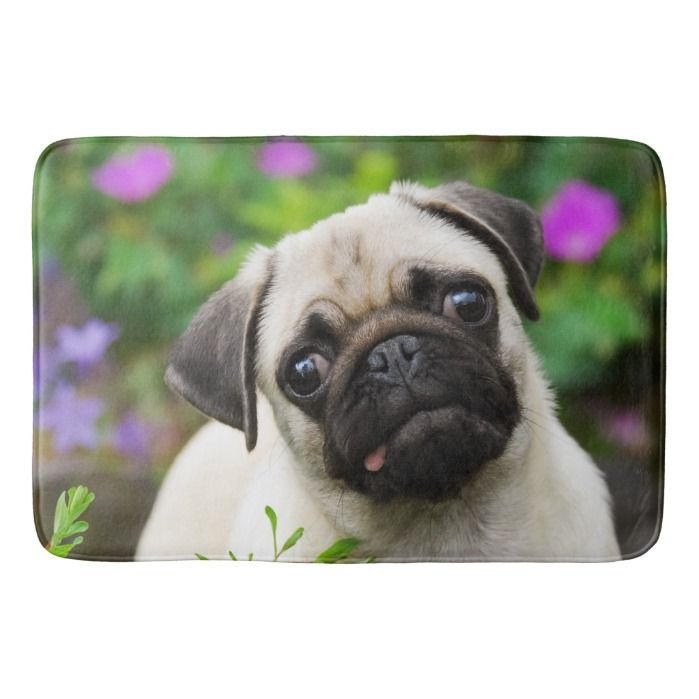 Cute Fawn Pug Puppy Bath Mat Zazzle Com Fawn Pug Pug Puppies