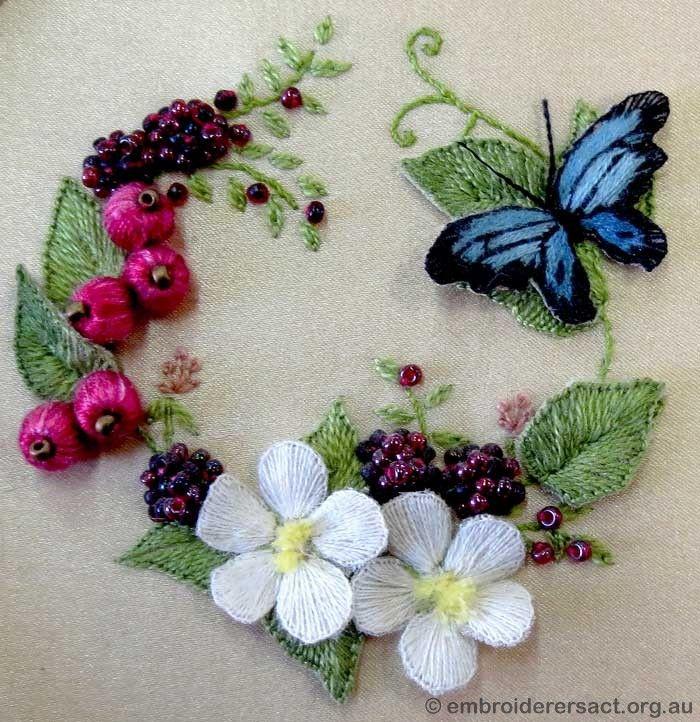 stumpwork   stumpwork and raised embroidery detail stumpwork butterfly box