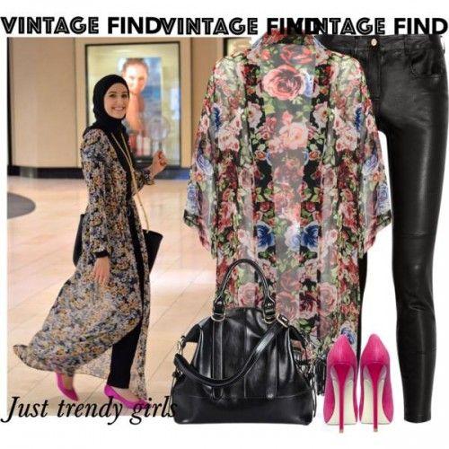 floral kimono cardigan outfit, Long kimono cardigan hijab style http://www.justtrendygirls.com/long-kimono-cardigan-hijab-style/