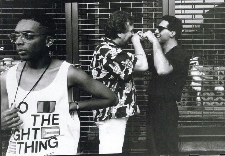 """#BOTD 1957 #JohnTurturro, with Danny Aiello and director Spike Lee behind the scenes of """"Do The Right Thing"""" #Oscar #Platinum #SableFilms"""