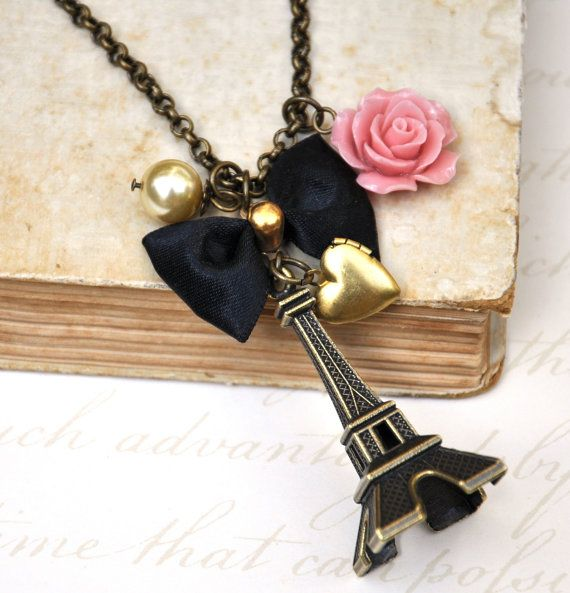Eiffel Tower Long Necklace- For vintage style lovers - Antique Bronze Eiffel Tower Travel Theme Charm Neckalce.