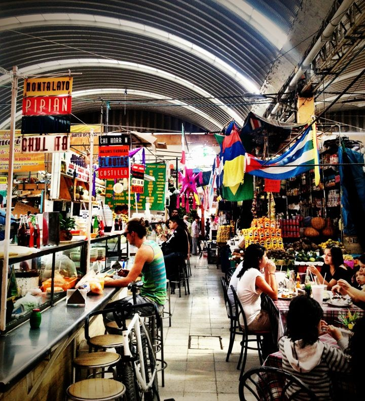 Mercado de Medellín in Cuauhtémoc, Distrito Federal = Mercado de Medellín isn't the dizzying spectacle of the larger, citywide markets, like the wonderful Mercado de Jamaica flower market or the Mercado de San Juan, where chefs shop. Instead, Medellín is a neighborhood institution that offers a glimpse of what is being lost with the proliferation of supermercados. Stalls specialize in spices, kitchen implements, fresh fruit juices, whole pig's heads or sheets of chicharrón. For a market…