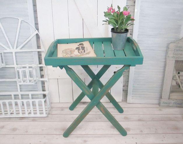 Beistelltisch Für Den Balkon: Tabletttisch Im Shabby Look, Kleiner  Klapptisch / Folding Table For