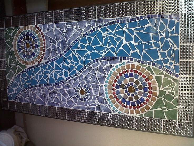 Customised Mosaic Coffee table or Patio Table with glass mosaics and ceramics