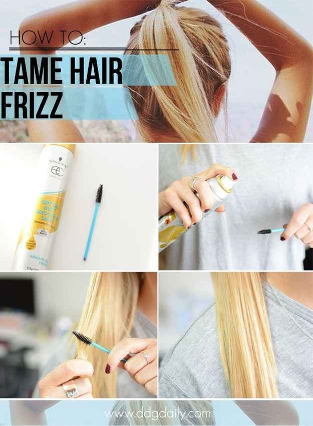 For small areas of frizz, use a mascara wand and hairspray.