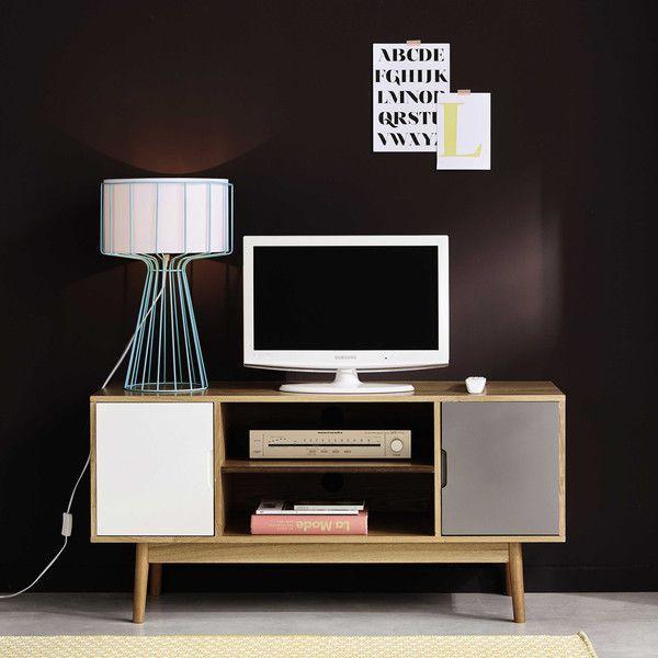 meuble tv vintage 2 portes blanc et gris - Meuble Tv Vintage Andersen