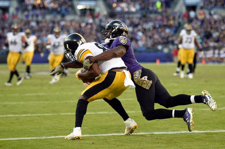 Steelers vs. Ravens:  21-14, Ravens  -  November 6, 2016  -   Pittsburgh Steelers wide receiver Antonio Brown, left, scores a touchdown in front of Baltimore Ravens free safety Lardarius Webb in the second  half of an NFL football game, Sunday, Nov. 6, 2016, in Baltimore. (Credit: AP / Nick Wass)