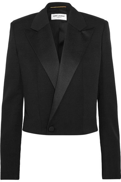 Saint Laurent - Cropped Satin-trimmed Wool-twill Blazer - Black - FR38