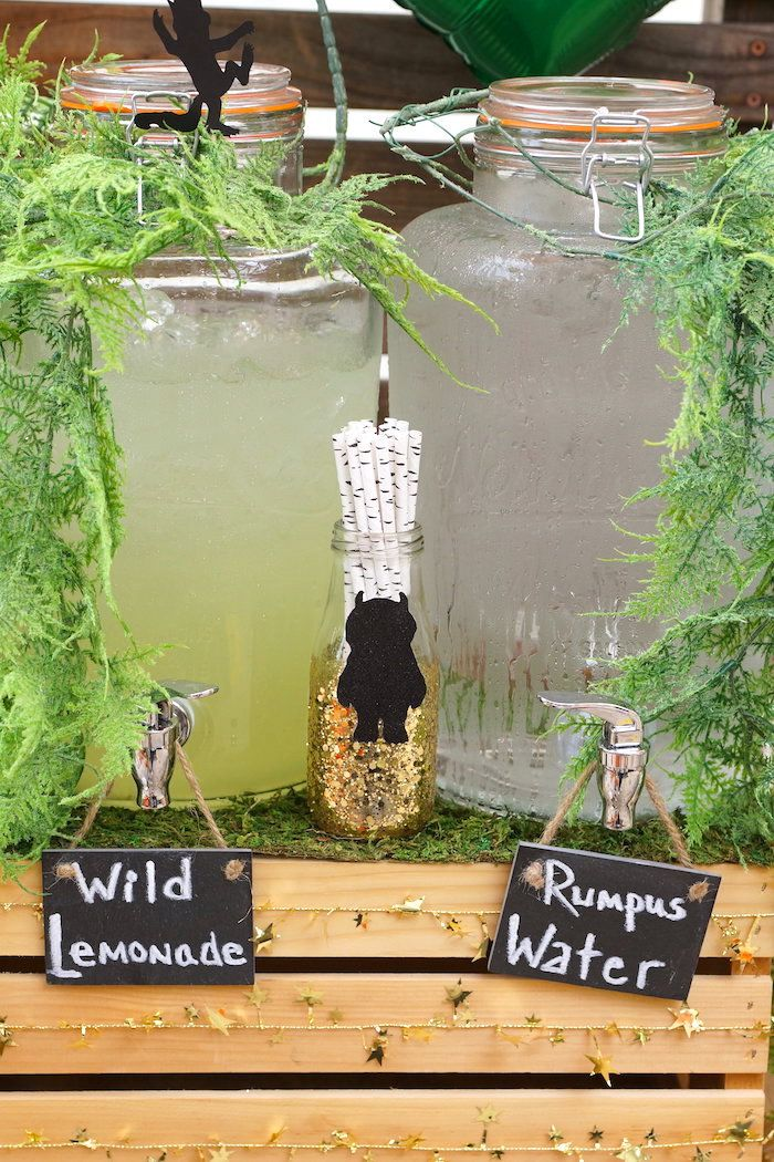 Vine-covered beverage dispensers from a Where the Wild Things Are 1st Birthday Party on Kara's Party Ideas | KarasPartyIdeas.com (13)
