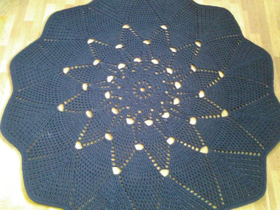 Crochet doily round rug 72''183 cmMade to by AnuszkaDesign on Etsy, $185.00