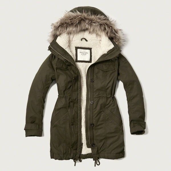 Abercrombie & Fitch Sherpa Lined Military Parka ($120) ❤ liked on Polyvore featuring outerwear, coats, olive, sherpa lined parka, parka coat, water resistant coat, brown coat and olive green coat