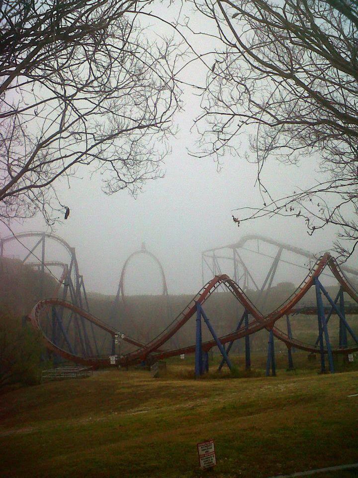 foggy amusement park