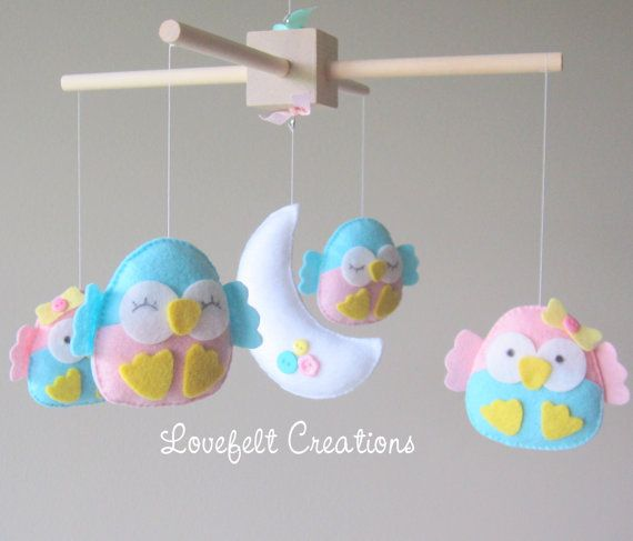 READY TO SHIP Baby Mobile Owl mobile Mint pink door LoveFeltXoXo, $80.00