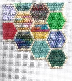 Hexipuff Glasses Case from Stash-busting Needlepoint (Scrap Bag Needlepoint) club. Image & project copyright Napa Needlepoint.
