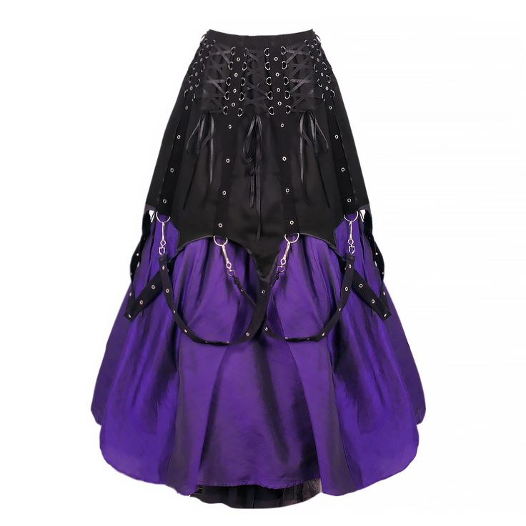 A purple satin skirt with black mesh overlay. This skirt features a lot of detail with a black cotton overlay on the top half embellished with metal d-rings and eyelets. To finish is satin ribbon draping around the skirt and are attached by metal clips. A classic Gothic garment and should be worn with chunky black boots.   WAIST 73CM - 100CM (FULL STRETCH)  Hand wash separately in cold water.