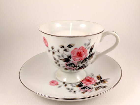 Chanel Coco Mademoiselle Candle in a Vintage Rose Tea Cup