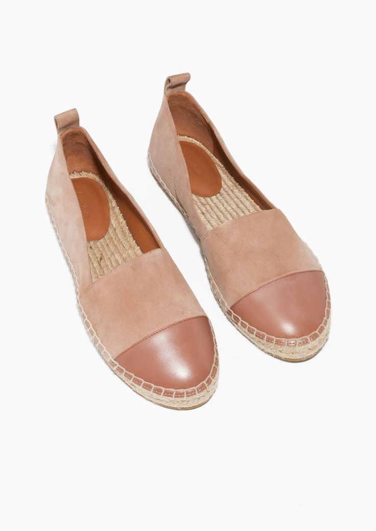 & Other Stories image 2 of Leather And Suede Espadrilles in Dusty Pink