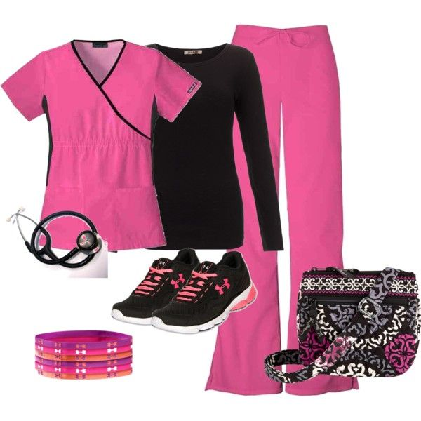 """PInk & Black scrub set"""
