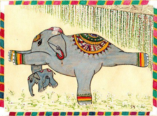Yoga Art  Elephant Painting  in Warrior III. $51.11, via Etsy.