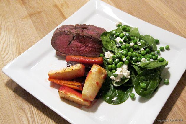 EGOSHE.dk - En madblog med South Beach opskrifter og andet godt...: Oksemørbrad med spinatsalat og rodfrugter