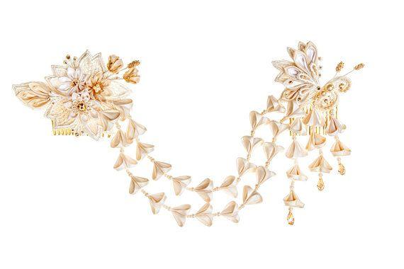 Chloris Ivory & Honey Bridal Headpiece Silk by PetiteLumiereCo