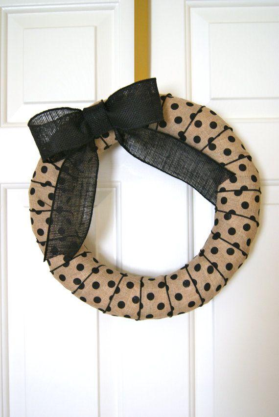 Polka Dot Wreath / Burlap Wreath / Wreath / by FarmToFrontPorch, $30.00