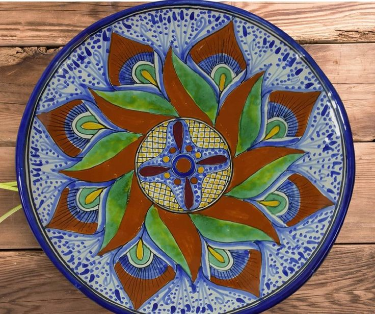 Rustica Gift Mexican Talavera pottery Aguacate collection large platter evoking Italian pottery