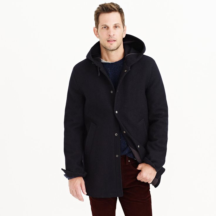 Hooded coach's jacket in wool : wool | J.Crew