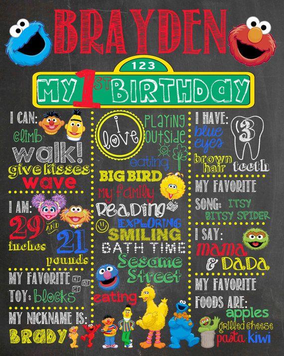 Sesame Street Birthday Chalkboard Sign / by LetsGetChalky on Etsy
