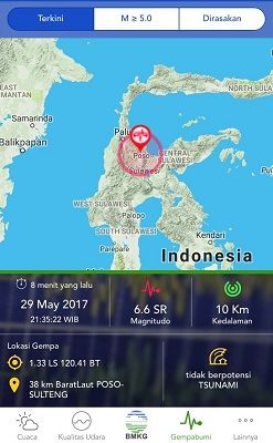 Gempa 6.6 SR di Poso, Tak Berpotensi Tsunami
