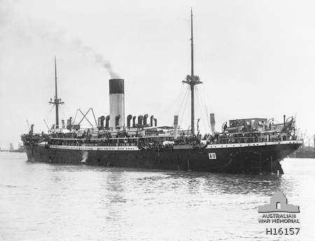 HMAT Ascanius departs Fremantle in November 1914, carrying the Western Australian 11th Battalion to Gallipoli and eventually the Western Front.