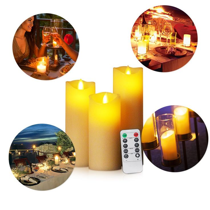 """Battery Operated Candles, HEPHEAS 5"""" 6"""" 7"""" Flickering Flameless Candles with 10-Key Remote Timer Real Wax Pillar LED Candle for Valentine's day gifts, Set of 3"""