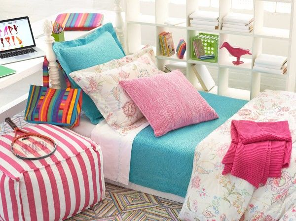 Girls back to school bedding with Pine Cone Hill