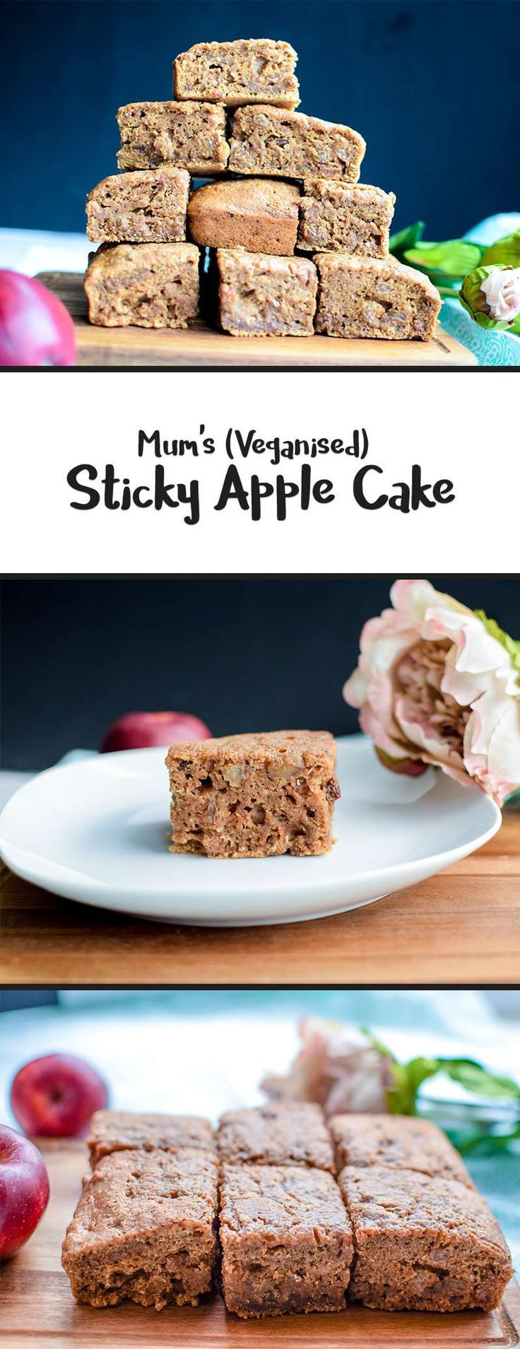 Sticky Apple Cake - a delicious vegan tray bake that can be enjoyed hot, on it's own or with custard, or cold. Egg free and dairy free.