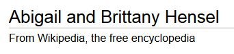 Abigail and Brittany Hensel - Wikipedia, the free encyclopedia