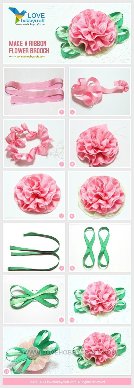 Make a ribbon flower brooch by stella_fresa