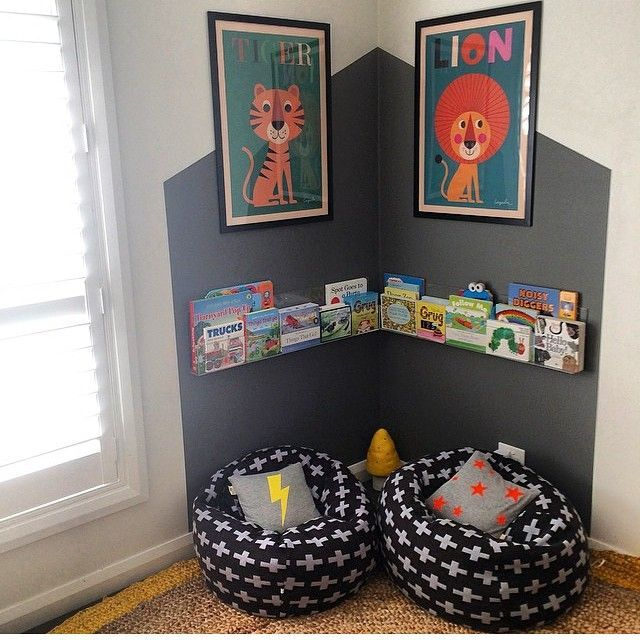 (wall paint pattern ideas) A way to bring interesting color into kiddos rooms or create little nooks Can also be used in play room.