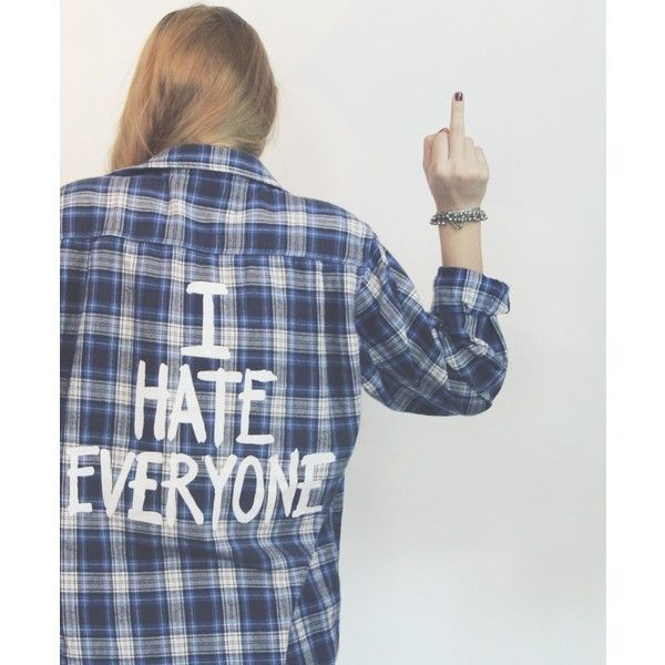 Jac Vanek I Hate Everyone Vintage Flannel (£84) ❤ liked on Polyvore featuring tops, flannels, shirts, blue flannel shirt, print shirts, flannel shirts, graphic shirts and green top