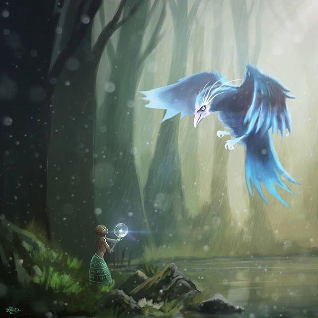 The Rain Bird African Mythology is fun to illustrate. #illustration #art #character#digitalart #bird #african  #mythology #magic #forest #fantasyart