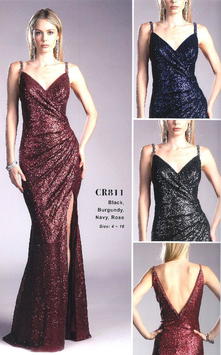 Prom Dresses Evening Dresses by CINDERELLA<BR>addCR811<BR>Sequins high shine wrap dress with V-neckline, open back to fitted body, side slit to flared hemline.