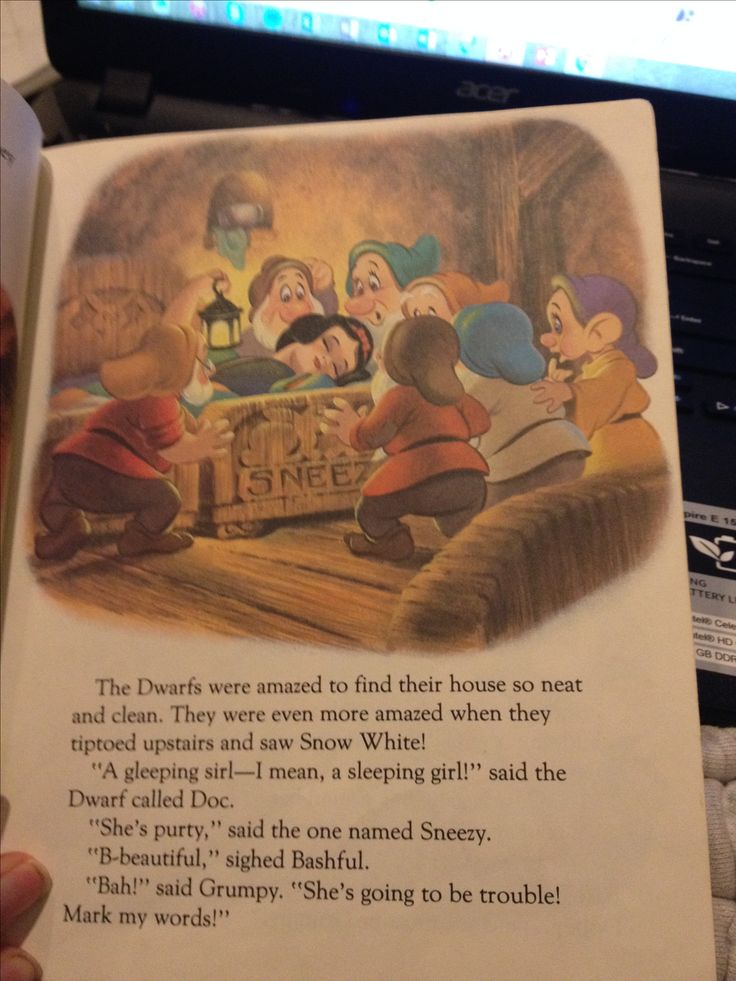 This illustration has a frame around it which makes the illustration stand out. Also it attracts the readers attention. Snow White and the Seven Dwarfs. Retrieved from https://www.youtube.com/watch?v=TfR21r9Oo5s