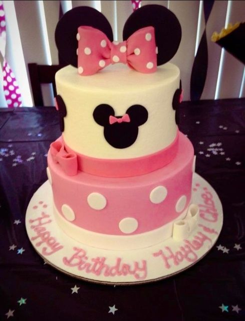 "Love the birthday message on the cakeboard. Photo 7 of 15: Minnie Mouse / Birthday ""Hayley and Chloe's Minnie party "" 