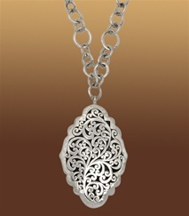 Lois Hill - Hand Crafted Sterling Silver Women's Necklace: Alhambra Carved Necklace on Mixed Component Chain: Component Chain, Hill Jewelry, Lois Hill, Necklaces, Hill Jewellery, Jewelry Ideas
