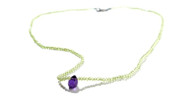 Necklace from Peridot and a drop from Amethyst -Price:60€