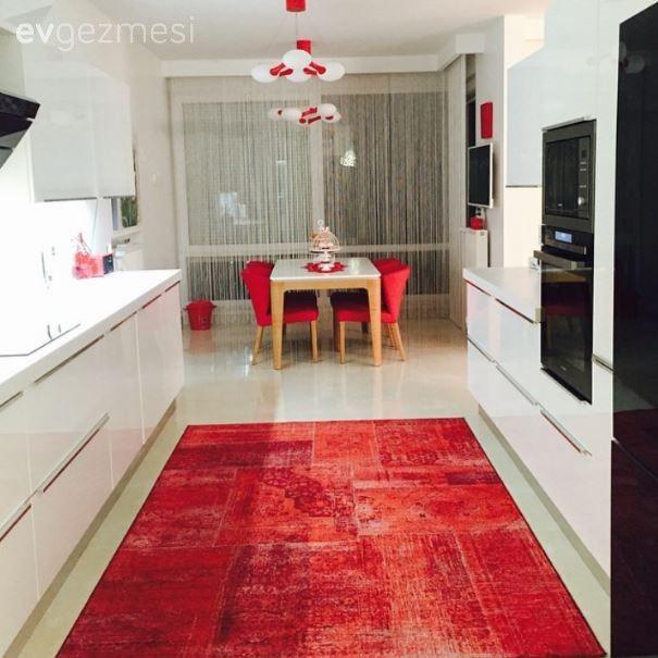 Mutfak, Halı, Kırmızı, Yemek masası, Beyaz mutfak