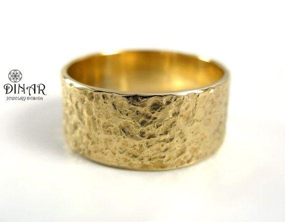 Hammered Wedding Band 14k Gold men wedding band wide Natural earthy Textur