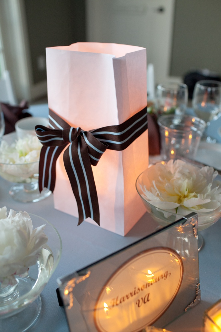 """lighted bag wedding table centerpieces with floating peonies...table """"numbers"""""""