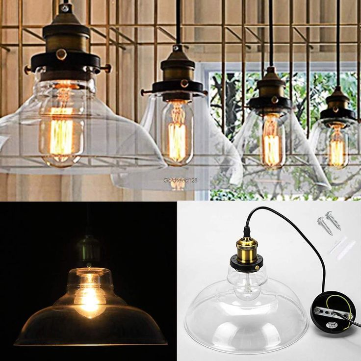 Retro Style Industrial Pendant Lamp Vintage Glass Ceiling Fixture Light Home USA #Homdox