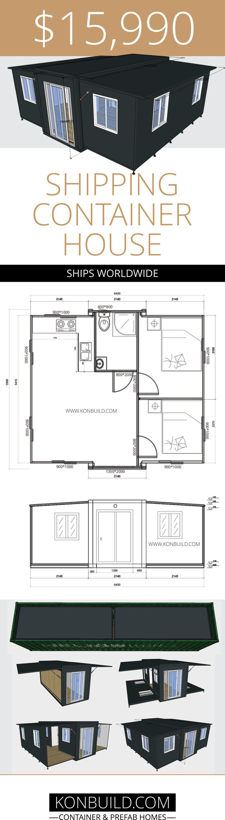 expandable shipping container home from china with floor plan 32 square metre in size